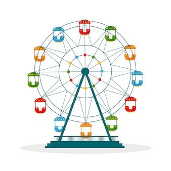 Colorata ruota panoramica ferris icona illustrazione isolati su sfondo bianco