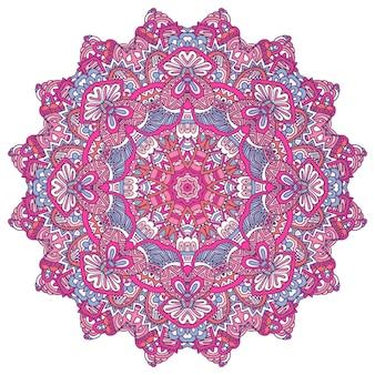 Festival colorato rotondo mandala etnica illustrazione vettoriale su sfondo bianco