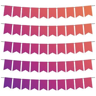 Bandiere colorate e ghirlande di stamina per la decorazione. elementi di arredo con varie fantasie. illustrazione vettoriale