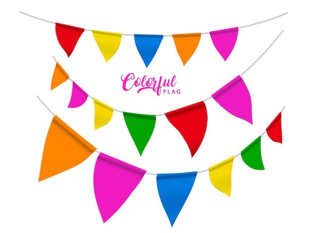 Elementi di bandiere colorate, bandiere di colore arcobaleno per usi di festa o carnevale