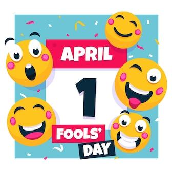 Illustrazione del giorno degli sciocchi di aprile piatto colorato