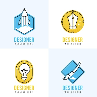 Collezione di logo designer grafico colorato design piatto