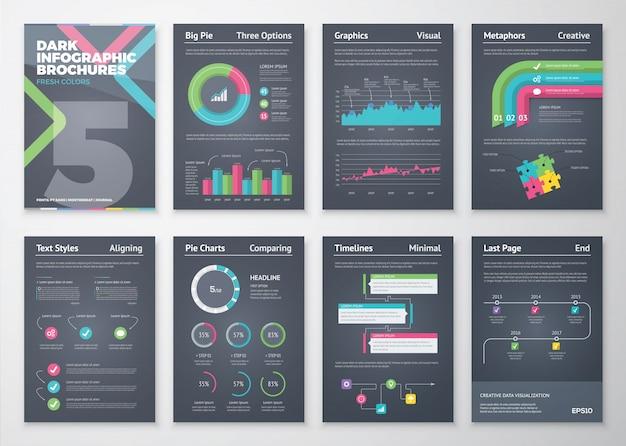 Opuscoli infografici colorati e piatti con sfondo nero