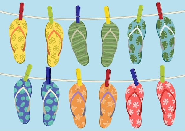 Infradito colorate che appendono sulla corda. illustrazione di estate.
