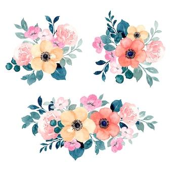 Collezione di composizioni floreali colorate con acquerello