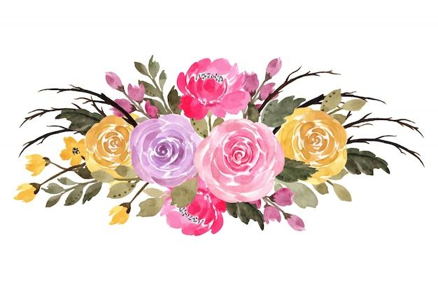 Bouquet floreale colorato con acquarello