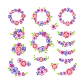 Collezione floreale colorata con fiori e foglie.