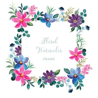 Cornice floreale colorata con acquerello