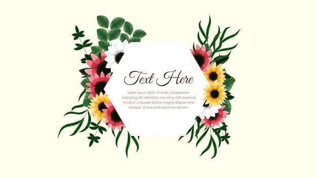 Sfondo di cornici floreali colorate con un'etichetta vintage illustrazione vettoriale per biglietti di auguri