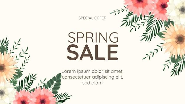 Modello di progettazione di fiori esotici di sfondo di vendita di vacanze floreali colorate per invito di volantino banner