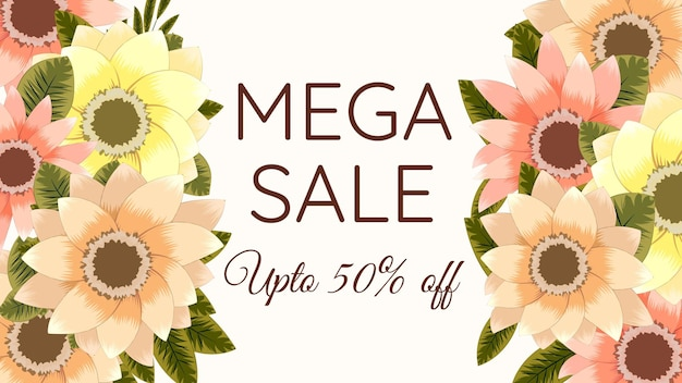 Modello di progettazione di fiori esotici di sfondo di vendita di vacanze floreali colorate per banner flyer