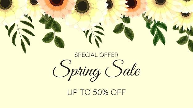 Modello di progettazione di fiori esotici di sfondo colorato di vendita di festa floreale