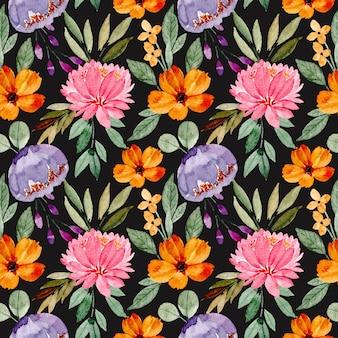 Reticolo senza giunte dell'acquerello floreale colorato con sfondo nero