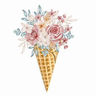 Cono gelato di bouquet di fiori colorati