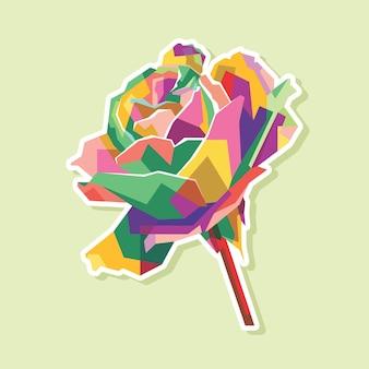 Disegno del ritratto pop art di fiori colorati