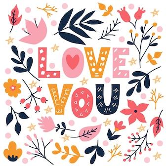 Fiori colorati e piante con scritte a mano ti amo in stile scarabocchio su sfondo bianco