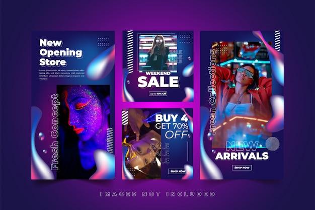 Modello di social media al neon fluido colorato per la moda donna