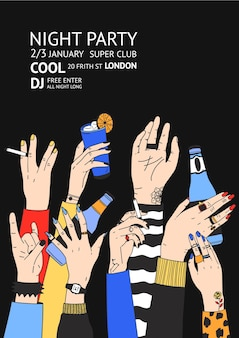 Modello di volantino o poster colorato per feste da ballo con mani alzate maschili e femminili che tengono bevande, cocktail e sigarette. illustrazione vettoriale disegnata a mano per annuncio evento club, invito.