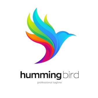 Design colorato del logo dell'uccello volante