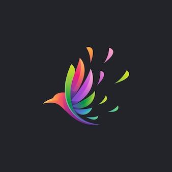 Logo colorato uccello volante