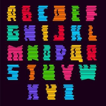 Strisce colorate tagliate con caratteri. alfabeto alla moda, lettere vettoriali dai colori vivaci costruite da blocchi, maiuscole