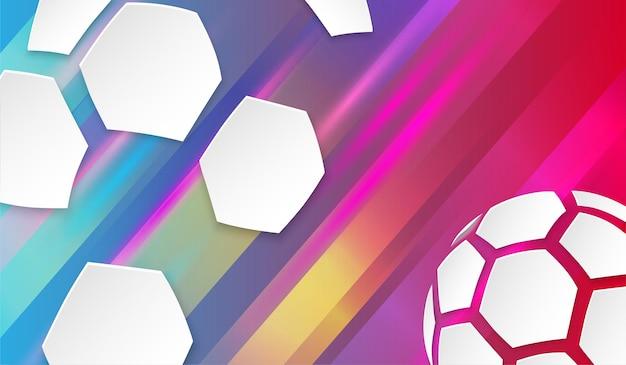 Sfondo colorato di calcio con pallone da calcio bianco illustrazione vettoriale di sport
