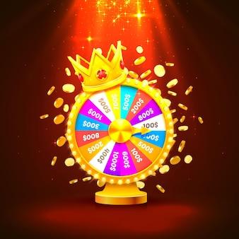 La ruota della fortuna colorata vince il jackpot. mucchi di monete d'oro. illustrazione vettoriale