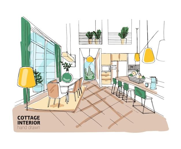 Schizzo a mano libera colorato dell'interno del palazzo o del cottage estivo con mobili eleganti e accoglienti e decorazioni per la casa. cucina disegnata a mano e sala da pranzo con tavolo, sedie, lampade. illustrazione