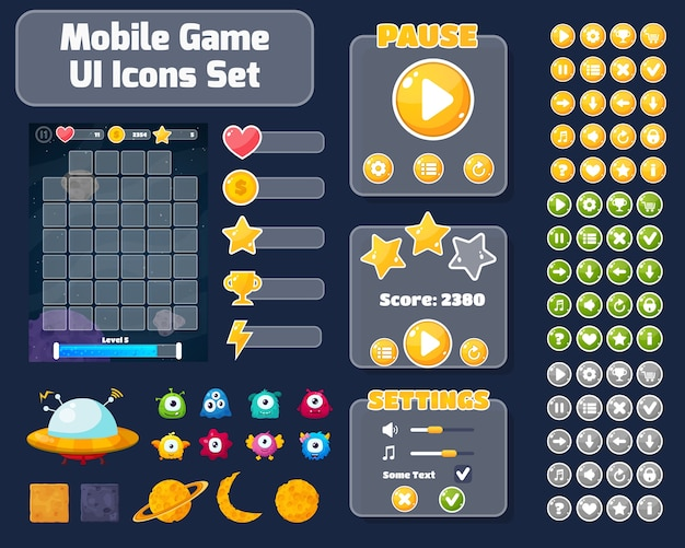 Sfondo colorato dell'interfaccia utente del gioco. illustrazione di concetto di spazio con alieni e pianeti.