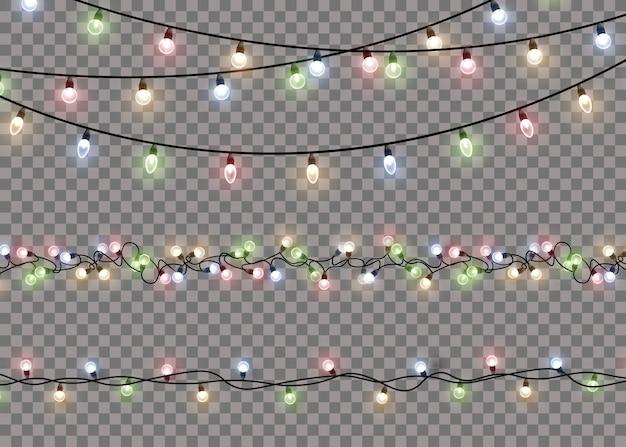Lampada a luce bagliore colorato su stringhe di filo. ghirlande di decorazioni luminose. vettore.
