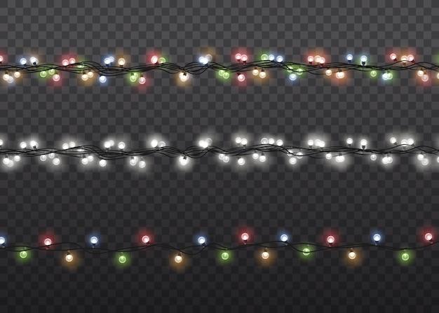 Lampada a luce bagliore colorato su stringhe di filo. decorazioni di ghirlande.