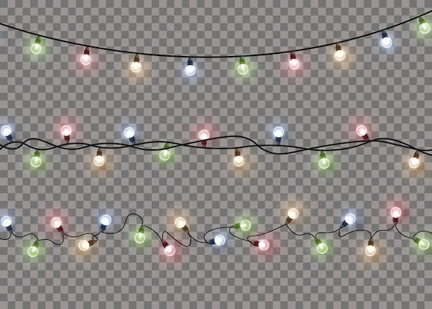 Lampada di luce bagliore colorato su stringhe di filo isolato sfondo trasparente. decorazioni di ghirlande.