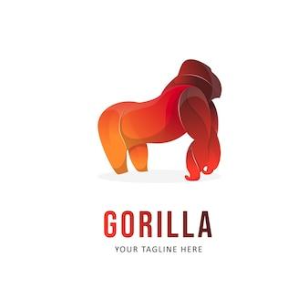 Disegno del logo colorato gorilla. logo in stile sfumato animale