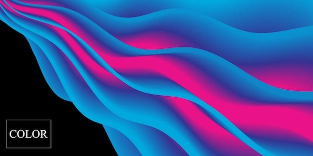 Gradiente colorato. 3d onda fluida. colori vivaci. sfondo liquido.