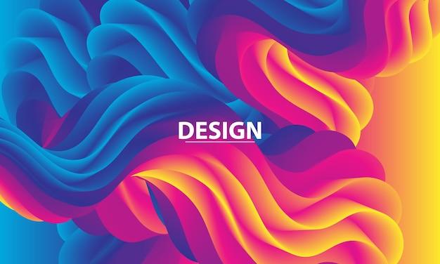 Gradiente colorato. 3d onda fluida. colori vivaci.
