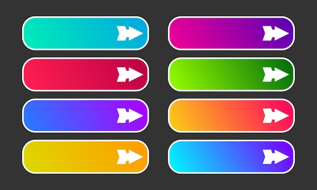 Pulsanti sfumati colorati con frecce. set di otto pulsanti web astratti moderni. illustrazione vettoriale