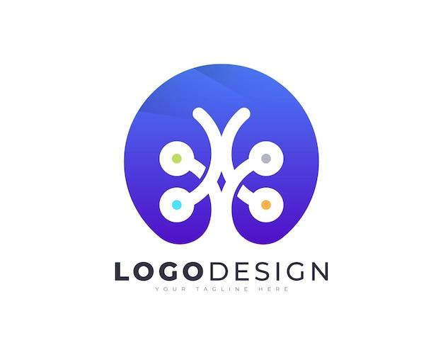 Modello di vettore di progettazione del logo dell'albero di tecnologia gradiente colorato per il tuo business aziendale