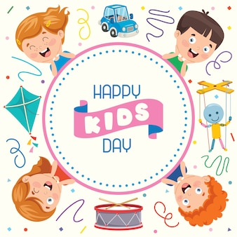 Biglietto di auguri colorato per la giornata dei bambini felici