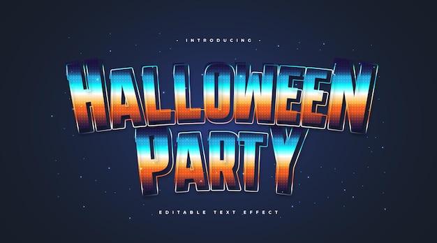 Testo colorato per feste di halloween in stile retrò con effetto scintillante