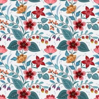 Fiori colorati disegnati a mano progettano un modello senza cuciture per carta da parati in tessuto tessile.