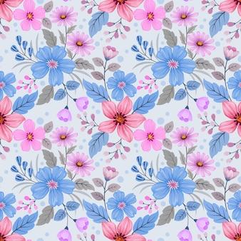 I fiori colorati di tiraggio della mano progettano il modello senza cuciture per la carta da parati del tessuto del tessuto.