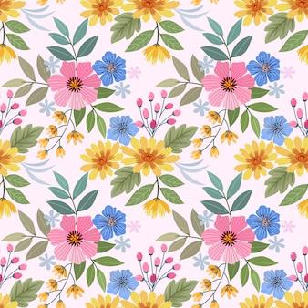 Colorata mano disegnare fiori seamless pattern per carta da parati in tessuto tessile.