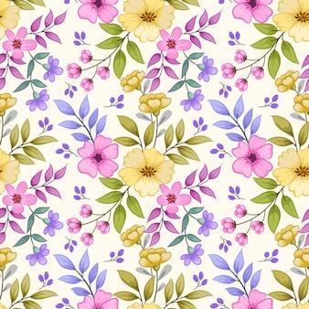 Modello senza cuciture di fiori colorati di tiraggio della mano per carta da parati in tessuto.