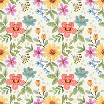 Colorata mano disegnare fiori seamless pattern