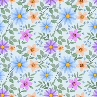 Modello senza cuciture di fiori colorati disegnare a mano