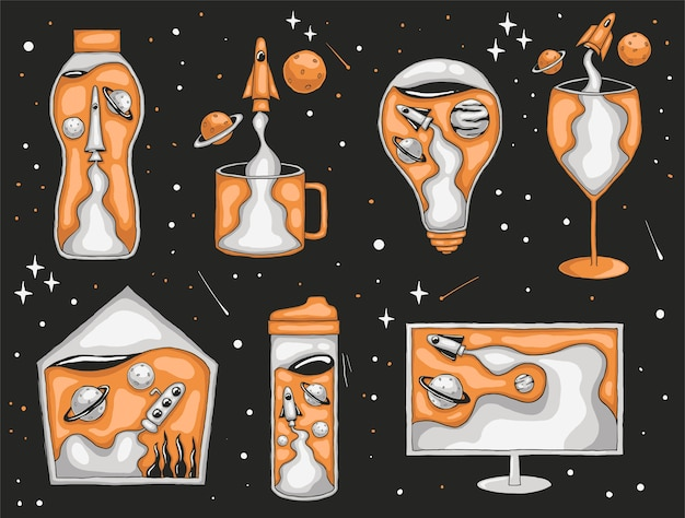 Illustrazione astratta disegnata a mano variopinta del razzo e del pianeta