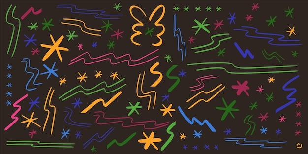 Elementi disegnati a mano colorati lettering vettore. stelle, linee, strisce, scintillii, luccicanti.