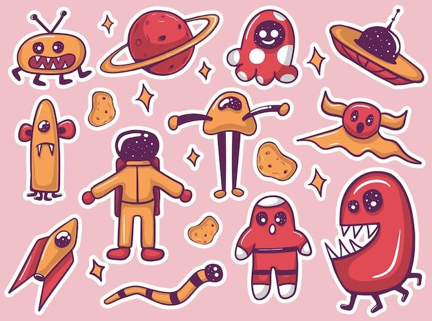 Collezione di adesivi mostri alieni divertenti disegnati a mano colorati