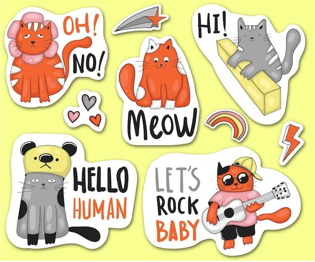 Collezione di adesivi divertenti gatti disegnati a mano colorati