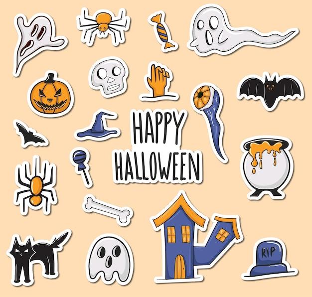 Collezione di adesivi colorati disegnati a mano di halloween